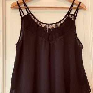 Black chiffon with lace sleeveless blouse